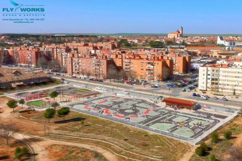 Vista aérea de parque de seguridad vial